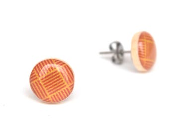 Orange Geometric Stud earrings, Hypoallergenic earrings, Gift for her
