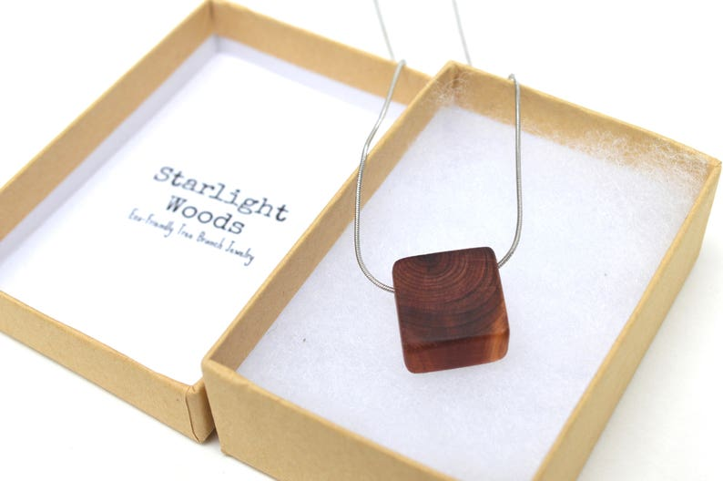 Fall Square wood pendant necklace made from cedar / Minimalist image 0