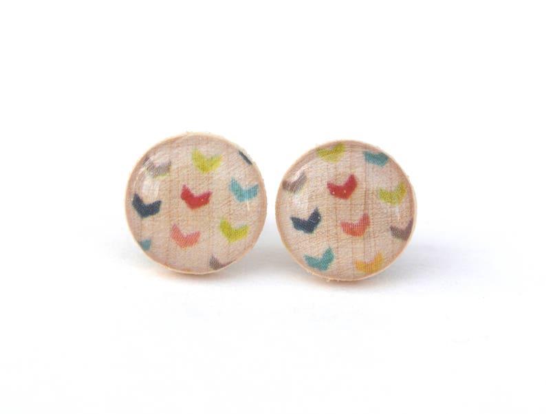 Rainbow Stud Earrings Hypoallergenic earrings image 0
