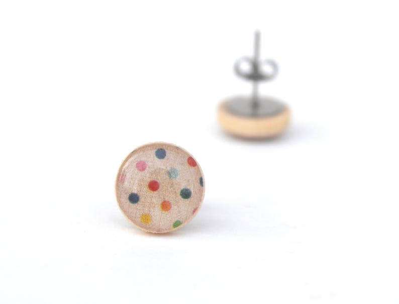 Rainbow Polka Dot Stud Earrings Hypoallergenic earrings image 0