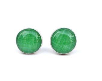 Kermit Green Wood Stud Earrings, Simple Hypoallergenic Earrings by Starlight Woods