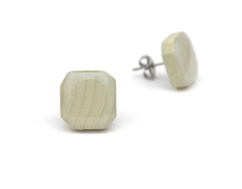 Light Green Wash Wood Square Stud Earrings Hypoallergenic image 0