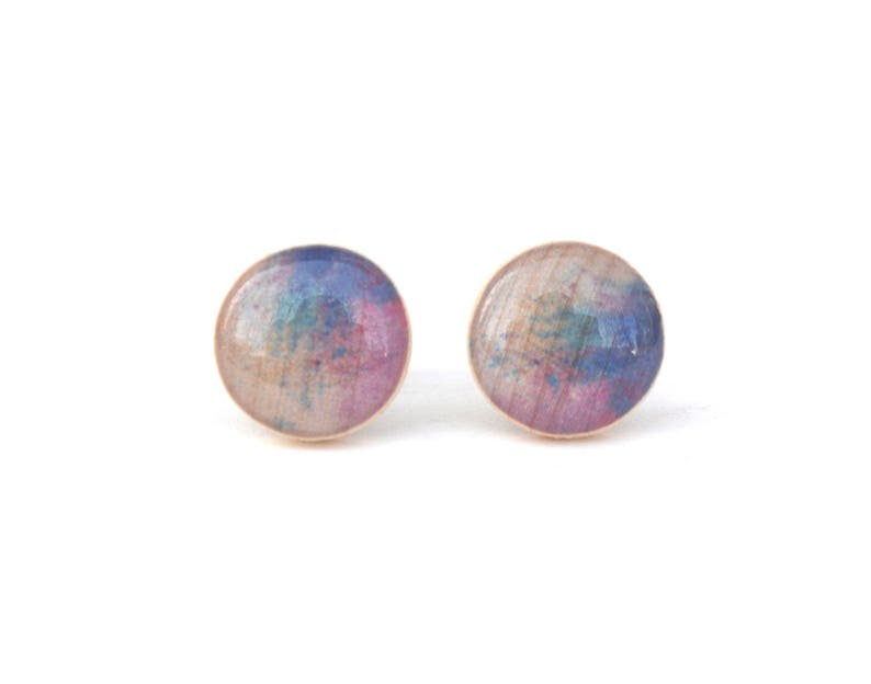 Blue and Purple Watercolor Stud Earrings Hypoallergenic image 0