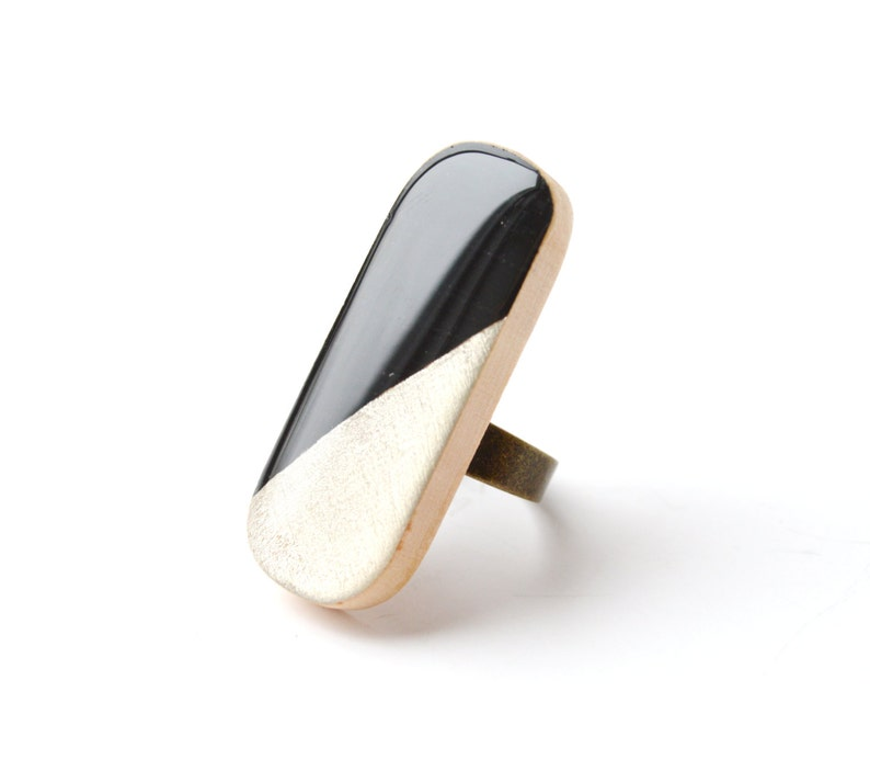 Black and White Wood Cocktail Ring image 0