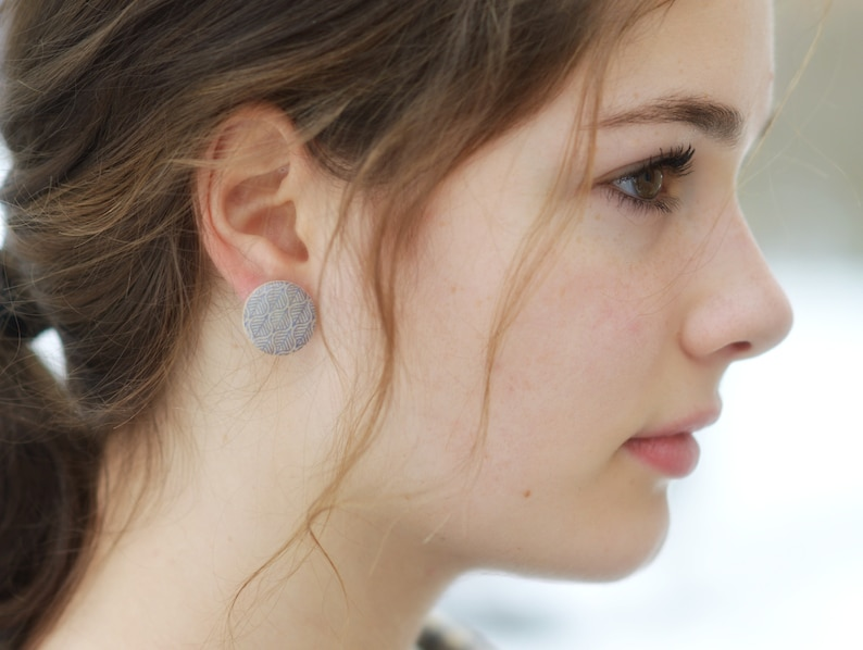 Big Blue Leaf Stud Earrings Spring Fashion 3/4 inch Post image 0