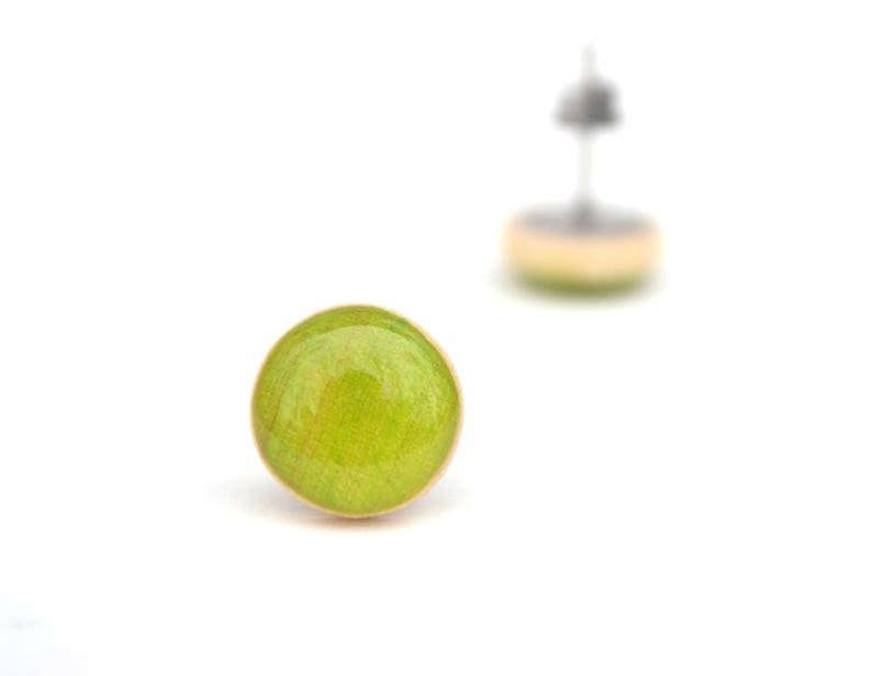 Bright Green Stud Earrings 3 colors available Hypoallergenic image 0