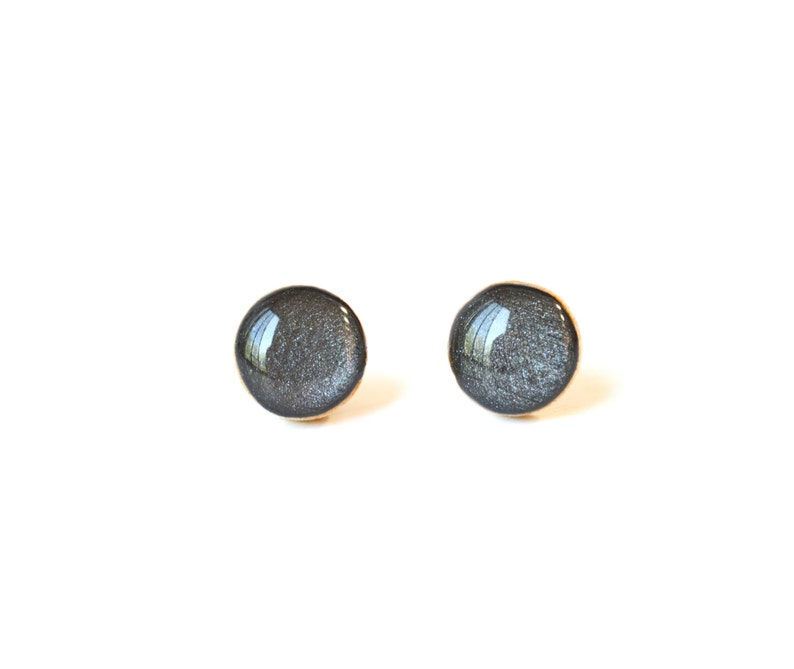 a3c78bf28 Charcoal grey stud earrings. Grey studs. Grey post earrings. | Etsy