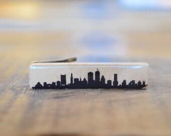 Boston Tie Clip, Boston Skyline, personalized tie clip Wooden tie clip, Tie Bar, Wood Tie Bar, Mens Accessory, tie clips men