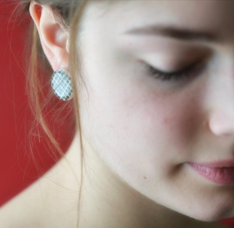 Large Statement Black Stud Earrings 3/4 inch Post Earrings image 0