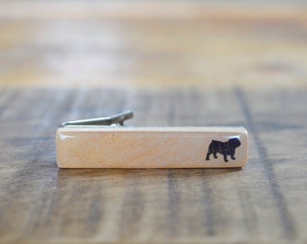 Bull Dog Tie Clip, Dog lover gift, Wood tie clip, Wooden tie clip, Wood Tie Bar, tie clips men, tie clip personalize