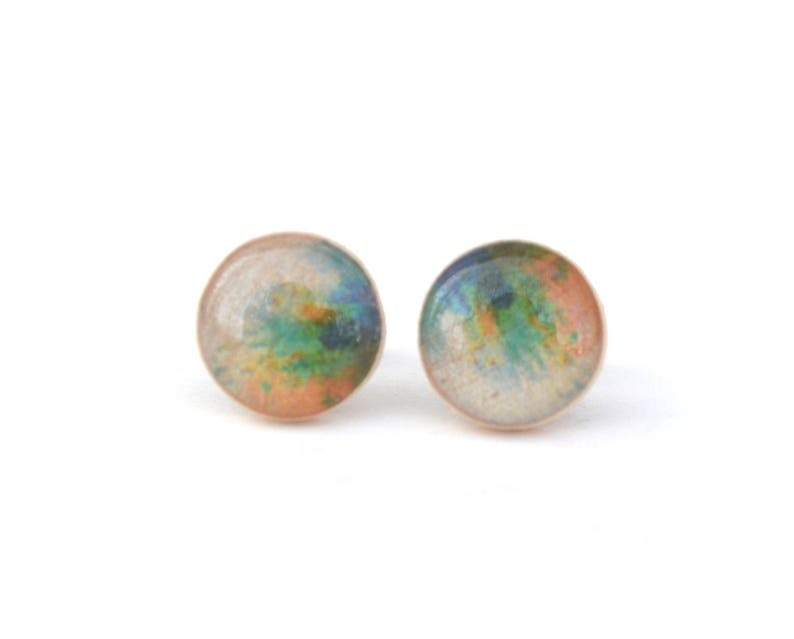 Green Blue and Yellow Watercolor Stud Earrings Hypoallergenic image 0