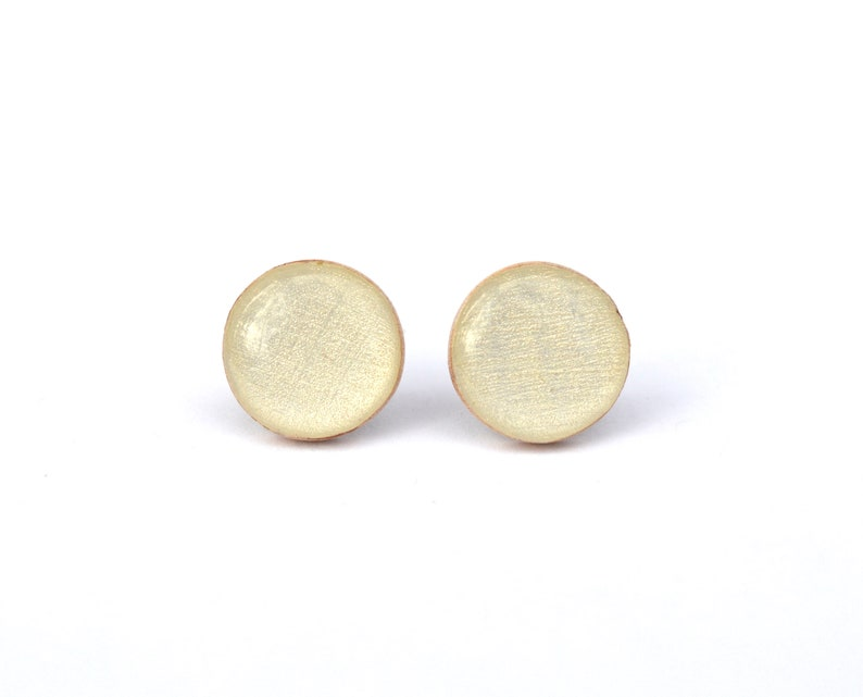 White Gold wood Stud Earrings light gold studs image 0
