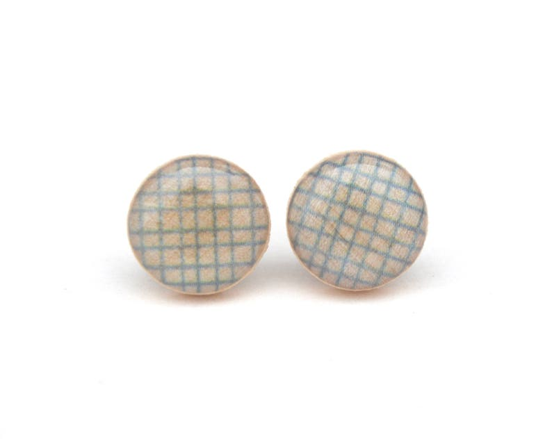 Light Blue Wood Stud Earrings Hypoallergenic earrings image 0