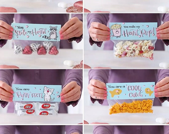 We Think You Are Wonderful Valentine! - Printed Bag Toppers for Snack Size Ziploc Baggies