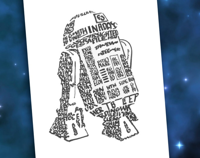 R2D2 - A Limited Edition Print of a Hand Lettered Image
