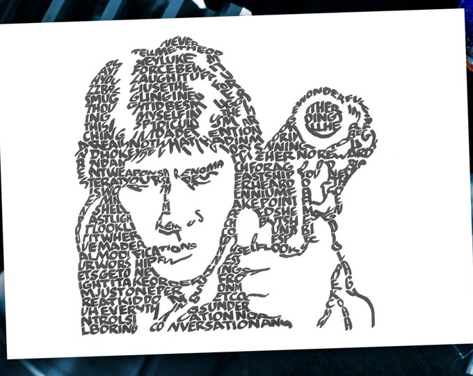 "Han Solo - ""Laugh it up fuzzball"" and other quotes from Han are used to form his image. A Limited Edition Print of a Hand Lettered Image"