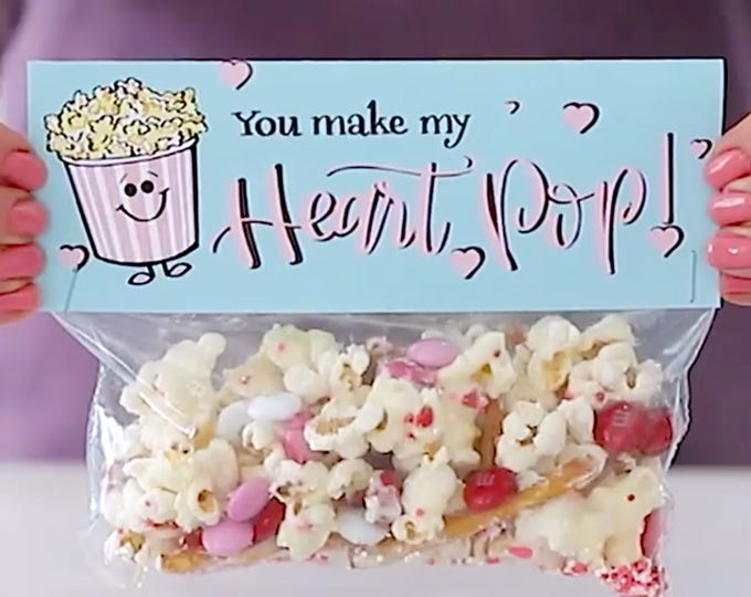 You Make My Heart Pop! - Printed Bag Toppers for Snack Size Ziploc Baggies