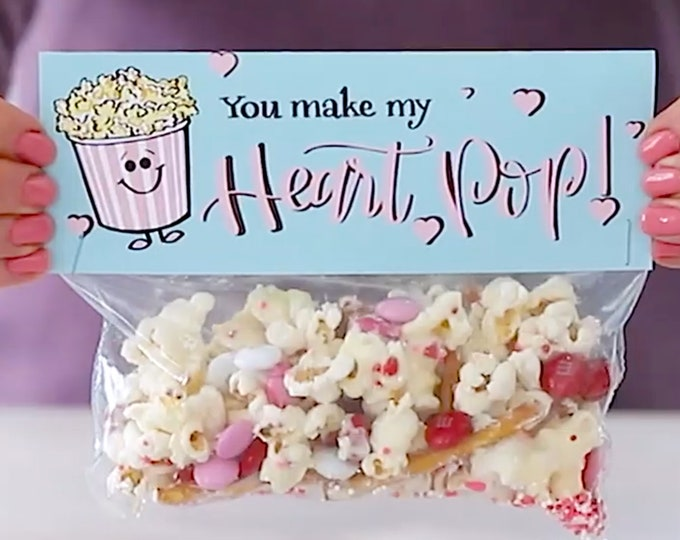 You Make My Heart Pop! - Printed Bag Toppers for Snack Size Baggies