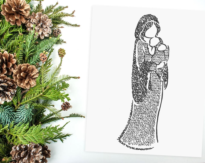 Mary Did You Know? Hand-lettered image using the carol. A limited-edition print