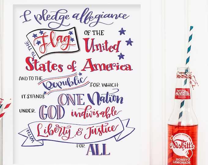 I Pledge Allegiance! Original Handwritten Art Available as a Digital Download!