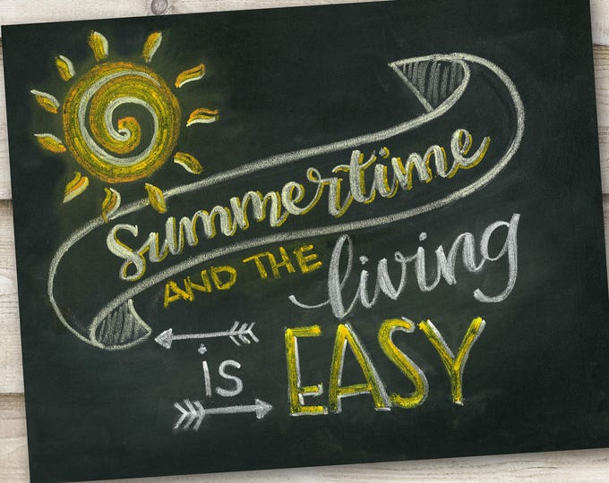 Summertime and the Living is Easy! - A Print of an Original Chalkboard