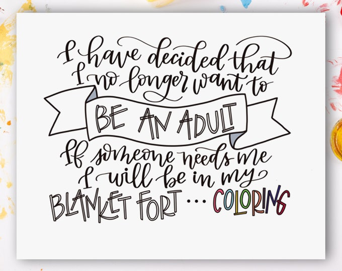 Not Adulting! Original Handwritten Art Available as a Digital Download