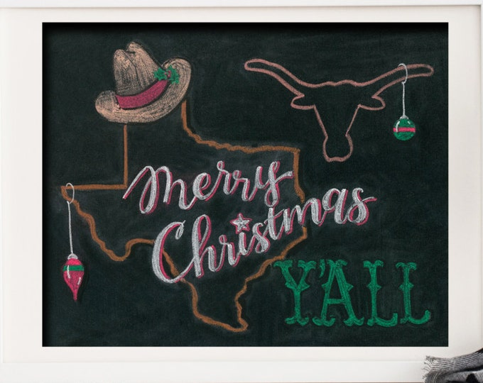 Merry Christmas Y'all! A Print of an Original Chalkboard