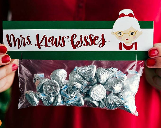 Mrs. Klaus Kisses - Printed Bag Toppers for Snack Size Ziploc Baggies