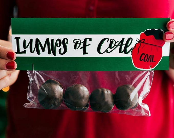 Lumps of Coal - Printed Bag Toppers for Snack Size Ziploc Baggies