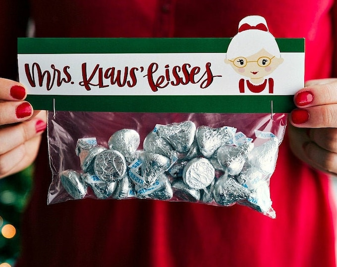 Mrs. Klaus Kisses - Printed Bag Toppers for Snack Size Baggies