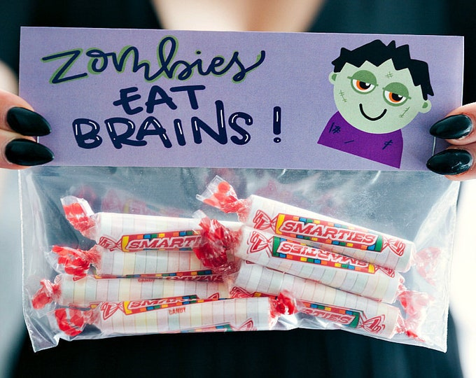 Zombies Eat Brains! Watch Out Smartie Pants! - Printed Bag Toppers for Snack Size Baggies
