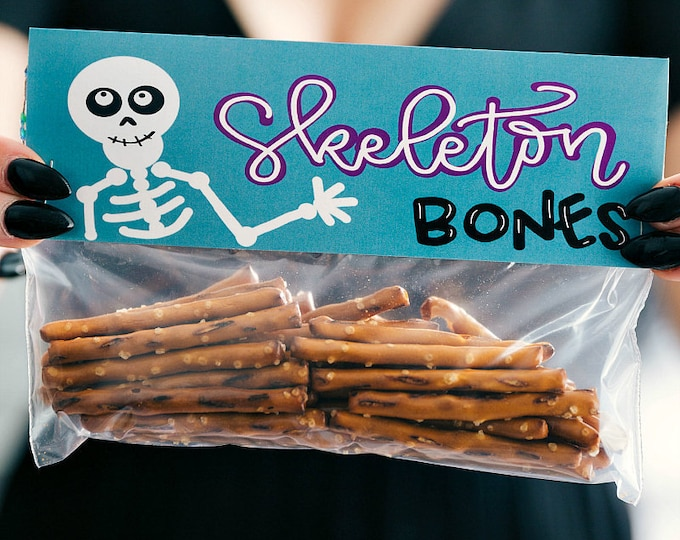 Skeleton Bones! - Printed Bag Toppers for Snack Size Ziploc Baggies