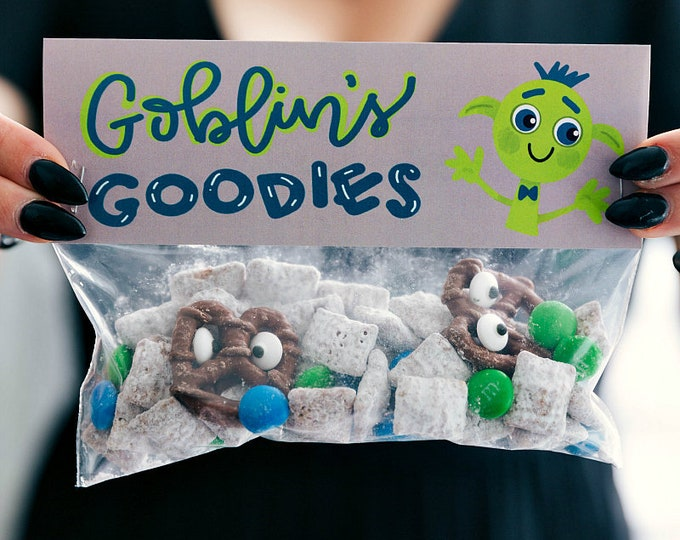 Goblin's Goodies! - Printed Bag Toppers for Snack Size Ziploc Baggies