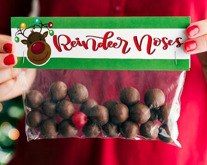 Reindeer Noses - Printed Bag Toppers for Snack Size Baggies