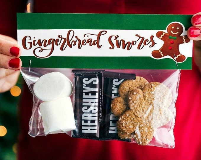 Gingerbread S'Mores - Printed Bag Toppers for Snack Size Baggies