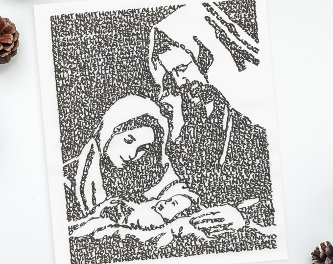 "Silent Night - A Limited Edition Print of Hand-lettered Image of the Nativity Using ""Silent Night"""