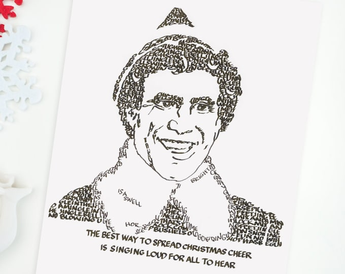 "Buddy the Elf - A Limited Edition Print of a Hand-lettered Image Using the Song ""Jingle Bell Rock"""