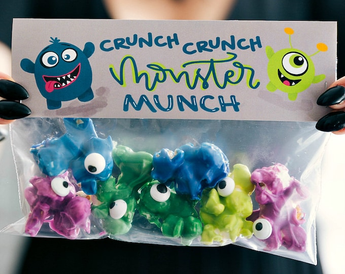 Monster Munch...Crunch...Crunch! - Printed Bag Toppers for Snack Size Ziploc Baggies