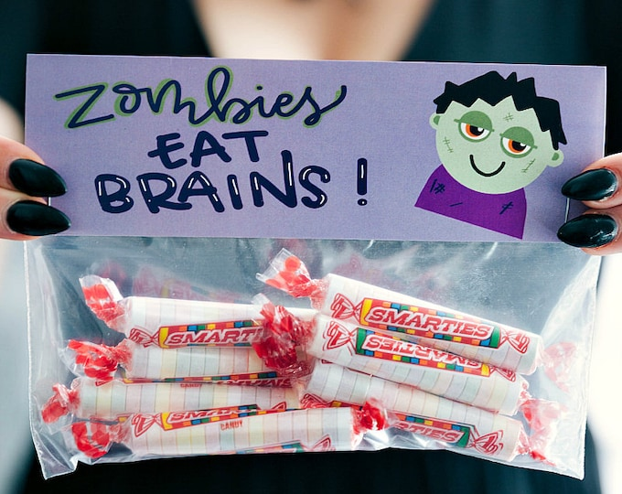 Zombies Eat Brains! Watch Out Smartie Pants! - Printed Bag Toppers for Snack Size Ziploc Baggies
