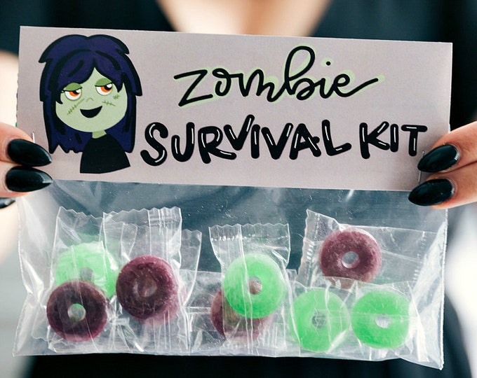 Zombie Survival Kit! - Printed Bag Toppers for Snack Size Ziploc Baggies
