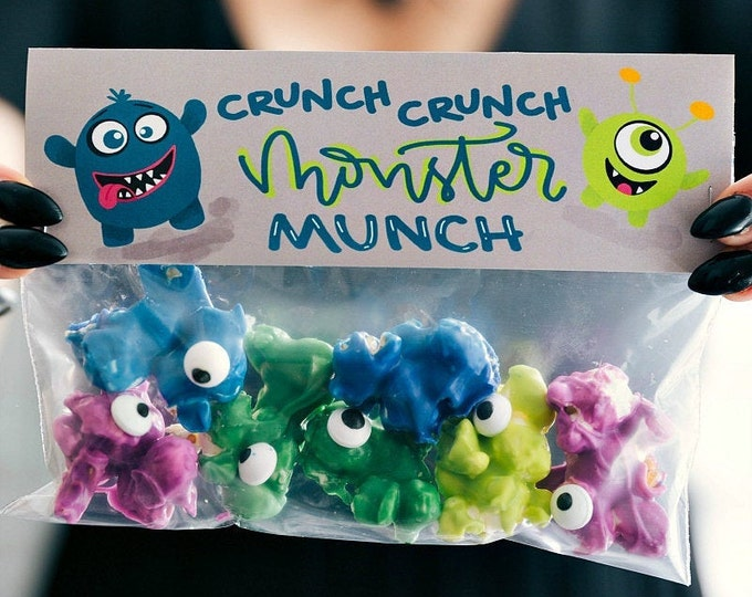 Monster Munch...Crunch...Crunch! - Printed Bag Toppers for Snack Size Baggies