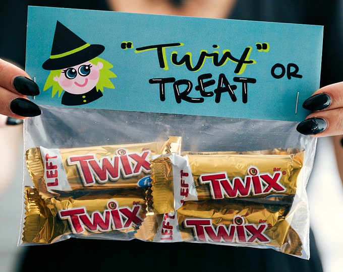 Twix or Treat! - Printed Bag Toppers for Snack Size Ziploc Baggies