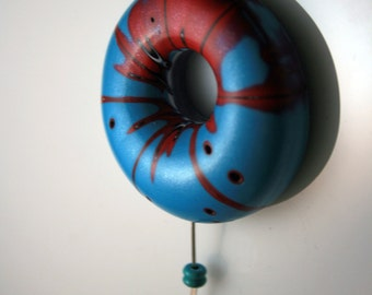 CLEARANCE*****Polymer Clay Air Pendant - turquoise and red - WEARABLE ART!!