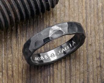 4mm Hammered Mens Wedding Band,