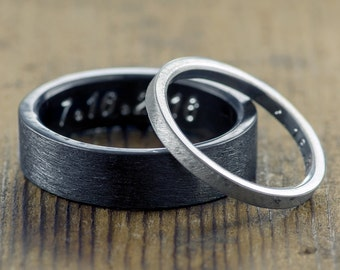 Eco Friendly Wedding Band Set, Sterling Silver