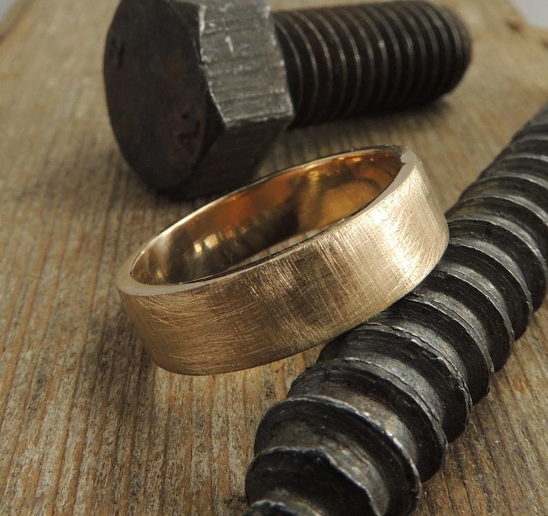 Recycled 14k Gold Mens Wedding Band Brushed Gold Gold Mens image 0