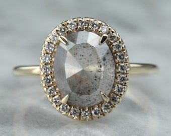 2.56 Carat Grey Oval Diamond Halo Engagement Ring, 14k Yellow Gold