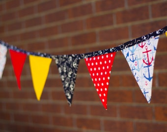 Reduced Price Handmade Fabric Banner / Bunting Nautical Theme Anchors
