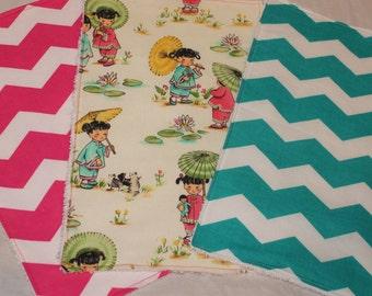Sale Handmade China Doll / Chevron Burp Cloth Set of 3