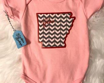 Sale Pink Arkansas Home Grown Onesie 6-12 Month